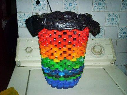 trash can made from plastic bottles