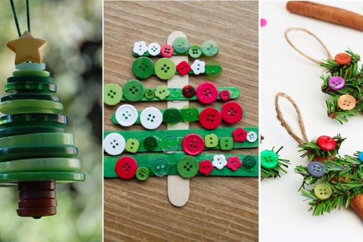Des d corations de no l faire avec des boutons astuces - Decoration de noel a faire avec des enfants ...