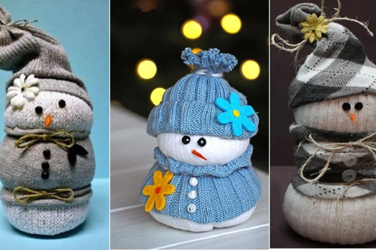 un bonhomme de neige avec des chaussettes astuces bricolage. Black Bedroom Furniture Sets. Home Design Ideas