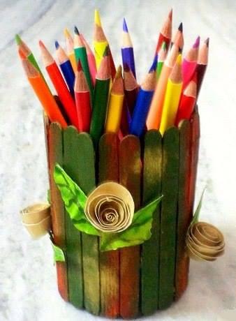 Id es cr atives r aliser avec des b tonnets en bois - Fabriquer un porte crayon original ...