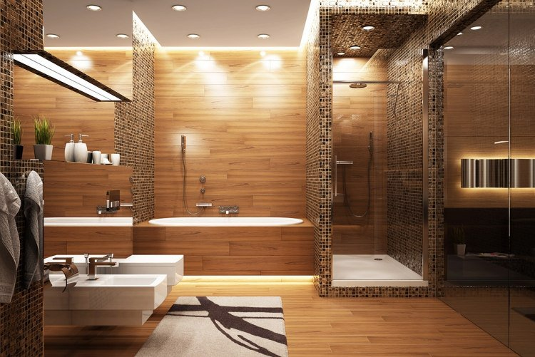 le bois s invite dans la salle de bain bricolage maison. Black Bedroom Furniture Sets. Home Design Ideas