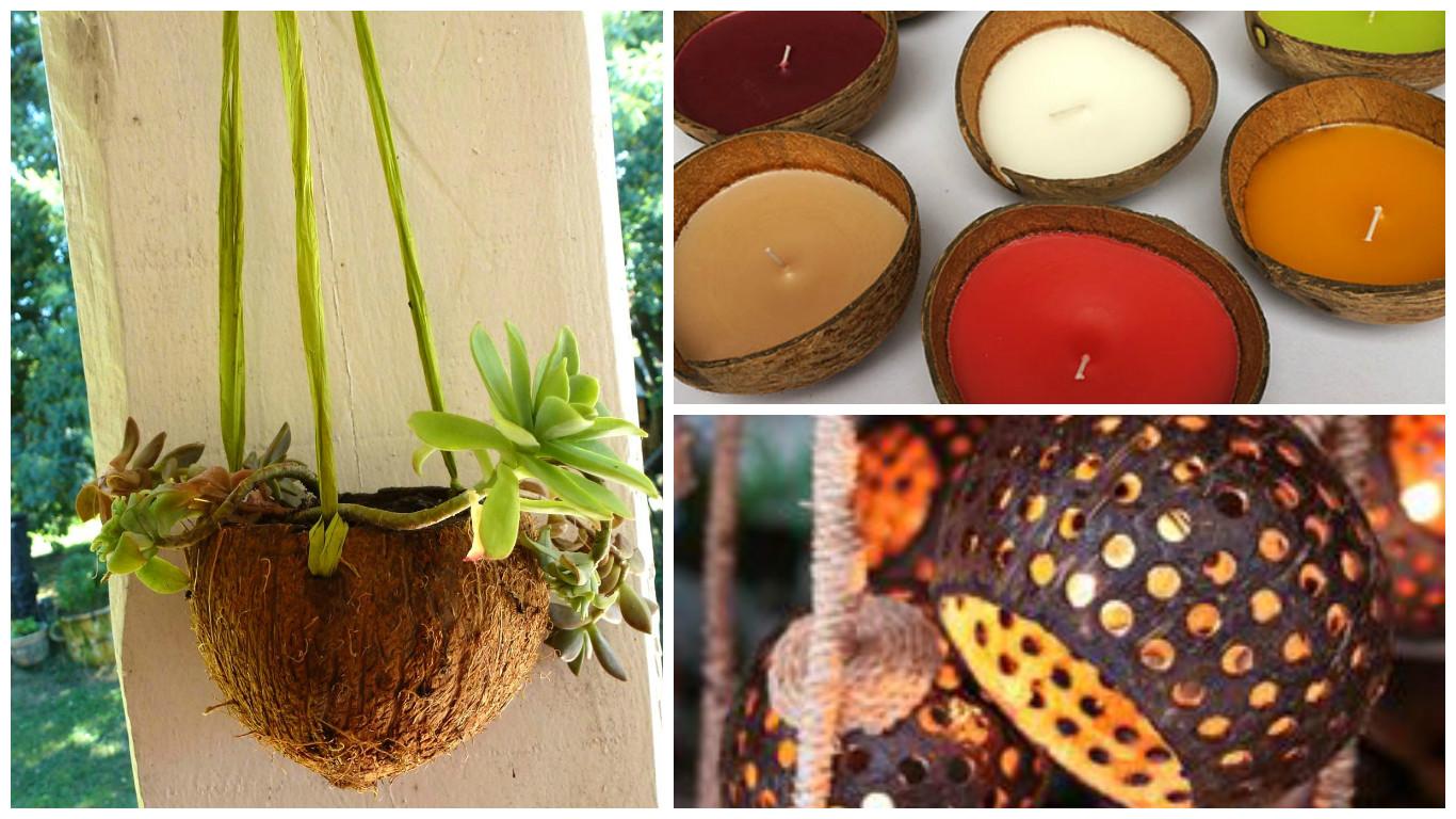 des id es de r cup ration de la coquille de noix de coco bricolage maison. Black Bedroom Furniture Sets. Home Design Ideas