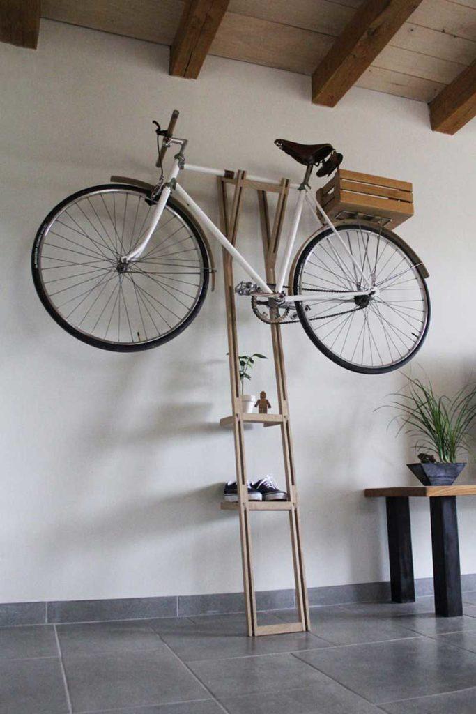 support bois decoratif pour velo