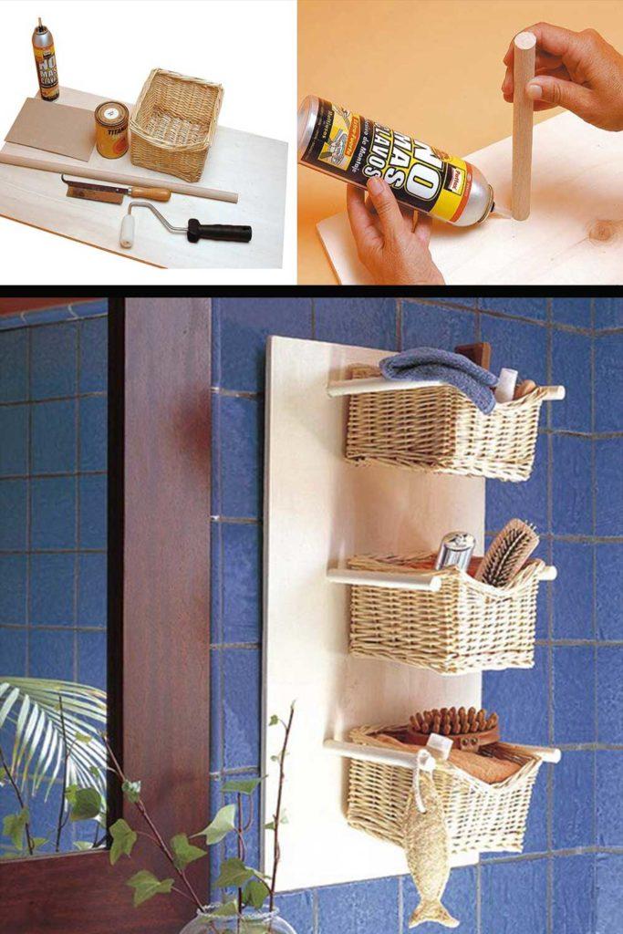 rangement salle de bain panier osier