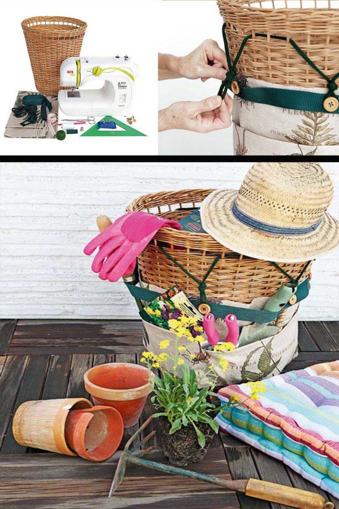 rangement outils jardinage panier osier